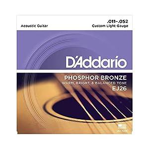 Juego de cuerdas para guitarra acústica Hechas de material de bronce de fósforo Producen un tono acústico cálido, brillante y buen equilibrado Tamaño: .011-.052