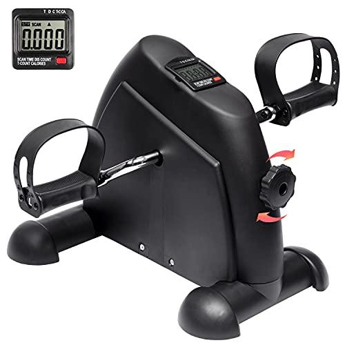 iHomey Under Desk Bike Pedal Exerciser, Portable Mini Exercise Bike for Arm and Leg with LCD Digital Monitor (black)