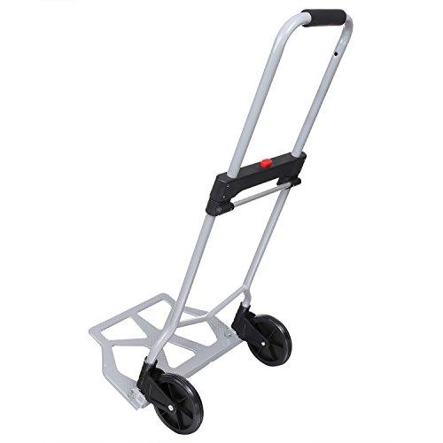 Nictemaw Klappbare Sackkarre,Aluminium Transportkarre Klappbar,mit Gummi Räder,mit Ausziehbarem Griff für Lasten bis zu 100 kg