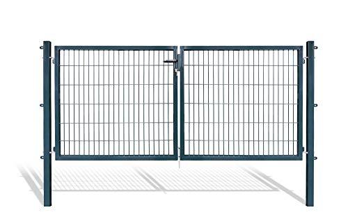 Doppelflügeltore für Stabmattenzaun, grün oder anthrazit, verschiedene Höhen wählbar - inklusive Pfosten und passenden Anschlussstücken (Doppeltor H 120 x B 300 cm, anthrazit)