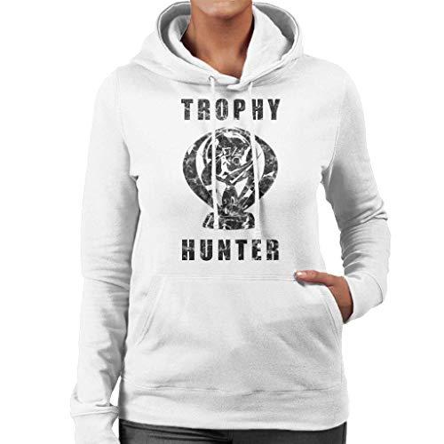 HTRWHTRE,Trophy Hunter PS Platinum Black Text Felpa con Cappuccio da Donna a Maniche Lunghe con Cappuccio White S