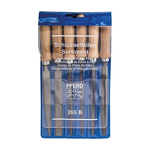 PFERD Schlüsselfeilen-Set 265 B in Kunststofftasche, 6 Feilen, 100mm, mit Holzheften, 11700265 – für eine große Bandbreite von filigranen und leichten Feilaufgaben geeignet