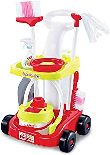 O.B Toys&Gift Kids Cleaning Vacuum Set Little Helper Pretend Children Cleaning Play Set w/ Trolley , Vacuum Cleaner & Accessories , 8 Piece Kids Cleaning Set Toy