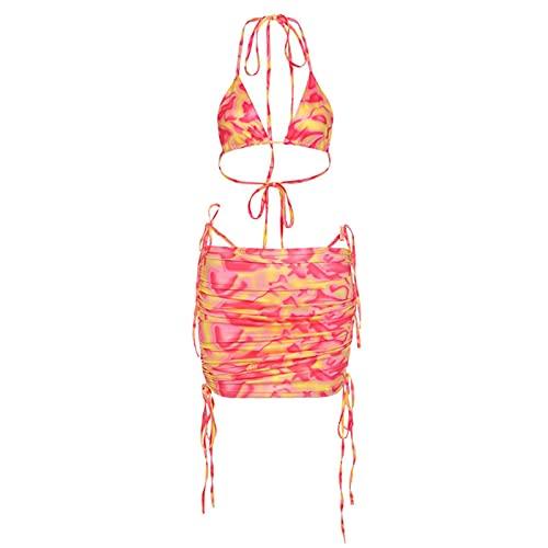 Traje de camiseta para mujer, estampado de corbata, tipo falda Y2K, estilo casual, sexy, para la playa de verano