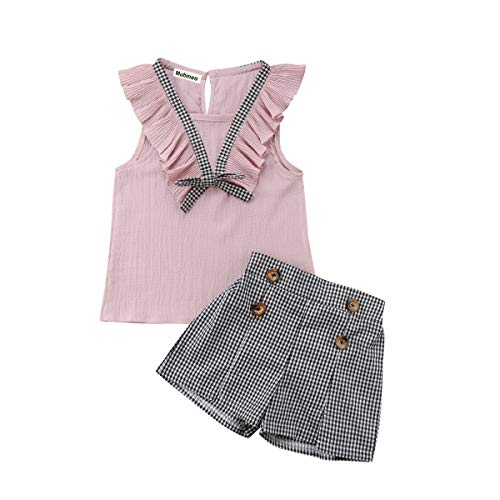 Toddler Baby Girl Sleeveless Tops Plaid Button Summer Shorts Set Clothes Outfits (Pink, 7)