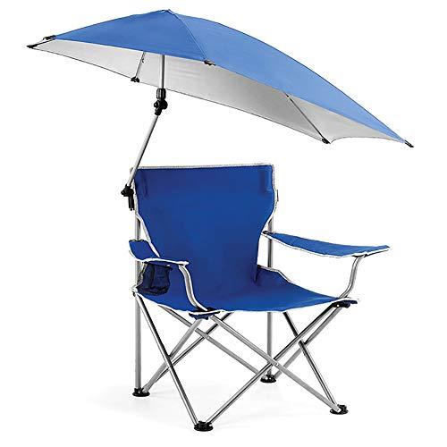JMFHCD Faltbar Campingstuhl Mit Sonnenschirm Campingstühle Klappbar Tragbar Angelstuhl Strandstuhl Mit Armlehne und Getränkehalter Klapphocker Bequemer Klappstuhl,Blau