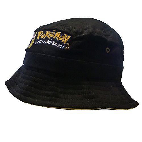 Nintendo Original Pokémon | Casquette | Chapeau | Mec | Enfants | 56 cm | 100% Coton | Pikachu-Broderie | Noir