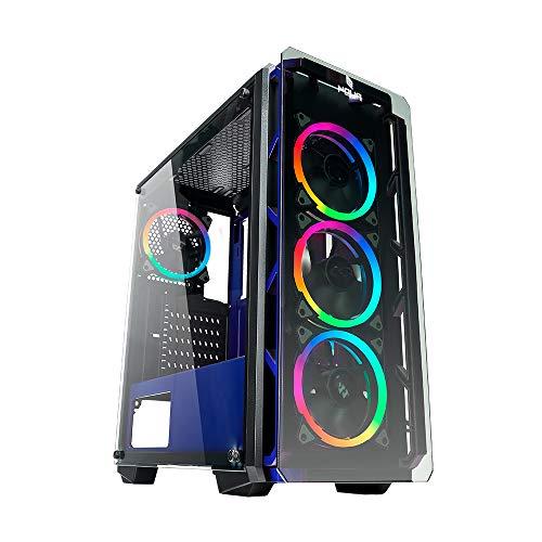 Noua Cool G4 Blu Case ATX PC Gaming 0.60MM SPCC 4 Ventole Dual Halo RGB Rainbow 5V 3Pin ADD RGB Front Tempered Glass 3*USB3.0/2.0 Pannelli Laterali in Vetro Temperato (AxPxL: 480x425x200 mm)