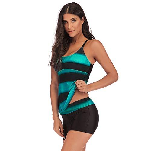 KaloryWee Damen Tankini Bikini Wellenpunkt Streifen Bow Plus Size Konservative Badebekleidung S-5XL