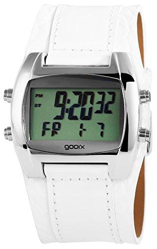gooix GX05019007 Herrenuhr Lederband Edelstahl 30m Digital Datum Chronograph Licht Alarm Timer weiß