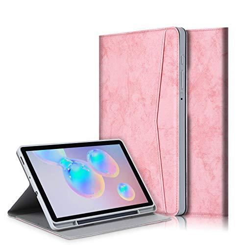 TOPCASE Custodia per Samsung Galaxy Tab S6 Lite 10.4 SM-P610/SM-P615 Morbida TPU Cover Con slot per penna con Funzione Supporto e Sonno/Sveglia,Rosa