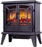 KAUTO Calentador eléctrico con Efecto de Llama Realista, 1400 W, Quemador de Madera eléctrico portátil, Ventana panorámica de observación (Color: Negro)