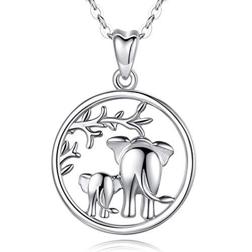 """Collar de plata de ley 925 con colgante de elefante de la suerte""""amor familiar"""", de AEONSLOVE, collar con madre y bebé elefante, 46 cm, joyas para mamá"""