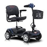 JINGJIN Scooter électrique pour Seniors, Scooter Pliant Mobilité, 4 Roues Scooters électriques pour Adultes Portable Mobilité Scooter pour Les Personnes âgées, Compact et démontable,12ahBlau10miles