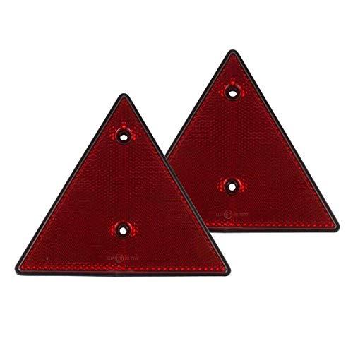 2er Set Reflektor Dreieck, Dreieckreflektor, Rückstrahler, rot, 15 cm, Warnzeichen, Anhängersicherung, Anhängerbeleuchtung