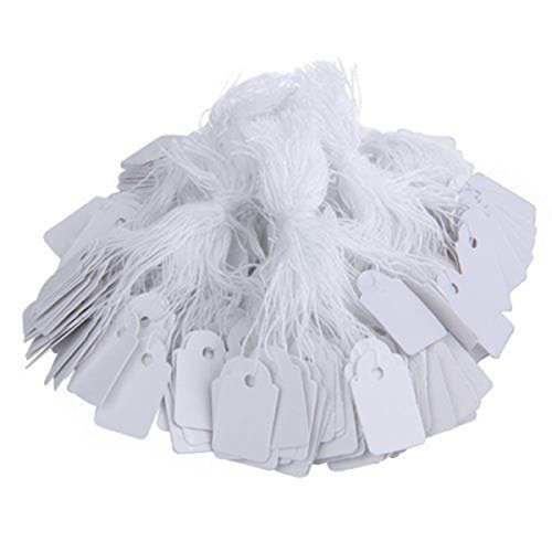 500pcs Strung Labels Tags Marking Tags White for Jewelry Display Price Ticket Gift Luggage Tag (Blank)