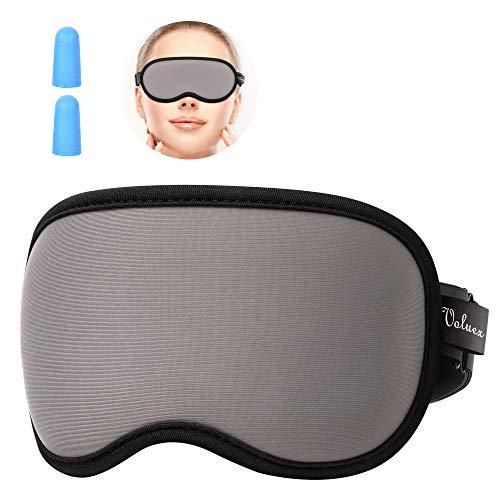 Homini, slaapmasker voor dames en heren, 100% lichtbescherming, super zacht en comfortabel, oogmasker voor reizen, in ploegenwerk en duiken, inclusief oordopjes