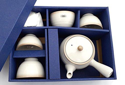 Japanisches Teeservice KOHIKI Einhandkanne 400 ml 5 Teeschalen Teeset hergestellt in Japan