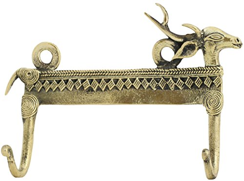 SouvNear Dhokra Art Vintage Deer Double Hook - Handmade Rustic Bronze Hardware Deer Face and Antlers Hooks for Hanging Coats, Clothes and keys - Bedroom/Kitchen/Living Room/Wall Decorations
