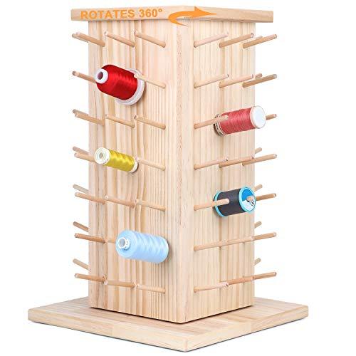 New brothread 84 Spulen 360° Voll Rotierende Holz Fadenhalter/Garnhalter/Fadenspulen Organizer zum Nähen, Quilten, Sticken, Haare Flechten und Schmuck