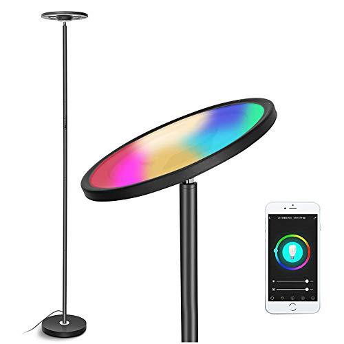 Luz de Piso uplighter LED, lámpara de pie Inteligente, RGBW WiFi Torchiere Dimmable Lámpara de pie Touch/Control de Voz, Trabaja con teléfono Inteligente, y Google Home