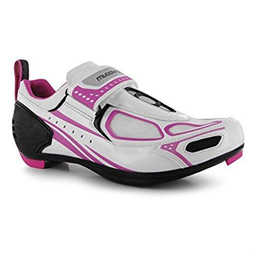 Zapatillas de ciclismo Muddyfox TRI100, para mujer, impermeables, con paneles superiores de malla, color Blanco, talla 42