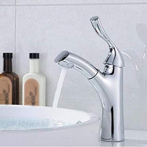 LG Snow Waschbecken Wasserhahn Waschbecken Mischbatterien Waschbecken Wasserhahn Modern Messing Chrom Ausziehbatterie, Silber, A