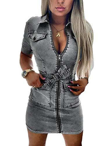 Tomwell Jeanskleid Damen Minikleid Sommerkleid Bodycon Bleistiftrock Partykleid Reißverschluss Blusenkleid Clubwear Cocktailkleid Grau S