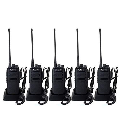 Retevis RT1 2 Way Radios Long Range 3000mAh VOX Professional High Power Walkie Talkies with Earpiece(5 Pack)