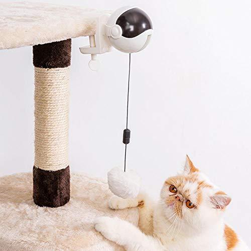 QDCITT Elektrischer Katzen-Teaser-Ball Automatisches Heben Federstab Heben Ball Interaktives Puzzle-Spielzeug Heimtierbedarf im Groß- oder Einzelhandel( Weiß )