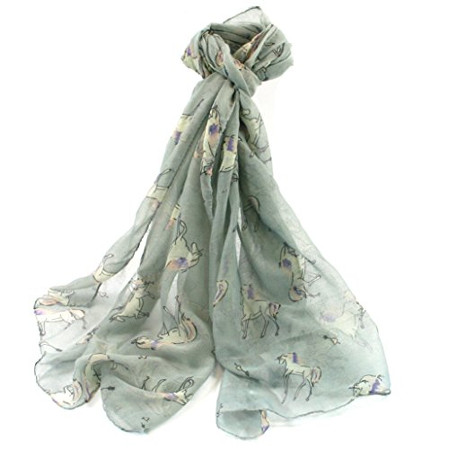 Fish Around Idee Regalo per i Fan di Unicorno/Unicorno a Tema Present (Collection) Unicorn Scarf (Grey)