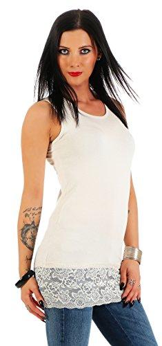 Mellice Damen Longshirt Long Top mit Spitze - FX040, Gr.- 40-42 EU/ L-XL, Creme