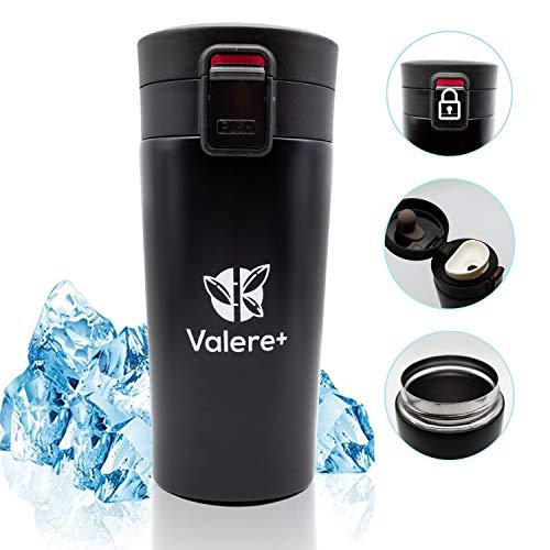 Valere + Edelstahl Kaffee-to-Go-Becher – Isolierbecher – Thermo-Becher – Doppelwandig & Vakuumisoliert - 350 ml – Reise-Becher Coffee und Tee zum Mitnehmen – Autobecher Travel Mug