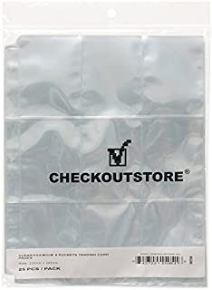 CheckOutStore (1000) 9 Pocket Trading Card Page Protectors (Holds 18 Cards Back to Back) (Clear Double Sided)