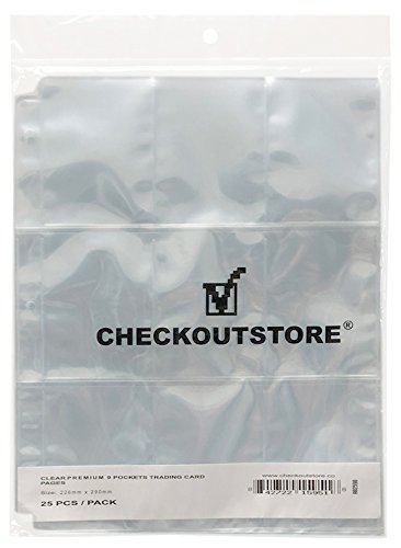 CheckOutStore (500) 9 Pocket Trading Card Page Protectors (Holds 18 Cards Back to Back) (Clear Double Sided) image
