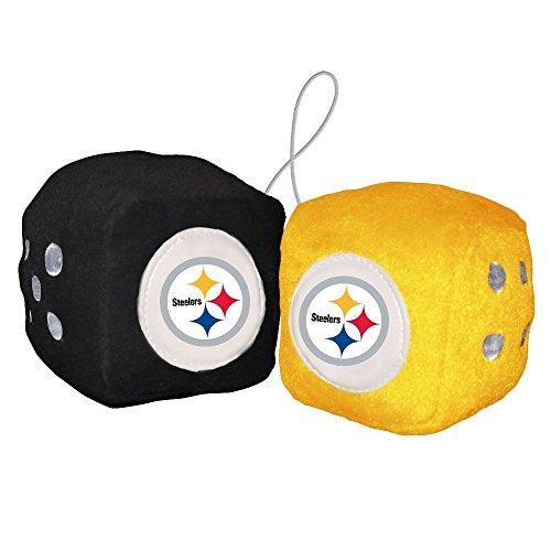 NFL Dados peludos, one black, one gold w/ logo, 7.62cm (3')