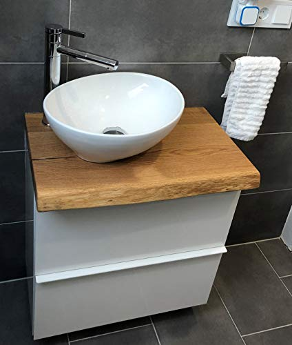 Waschtischplatte Eiche massiv Baumkante geölt Waschtisch Holz (60 x 40 cm)