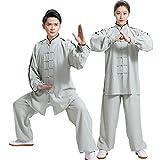 Tai Chi Ropa Mujer - Uniforme De Artes Marciales para Hombre/Ropa Tradicional China De Kung Fu/Ropa Deportiva De Primavera Y Verano/Lino De Algodón,Grey-Small