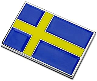 国旗 デザイン ステッカー 金属 車 エンブレム ミニ ワッペン チャーム 防水 スーツケース アクセサリー バッジ 2個セット (スウェーデン)