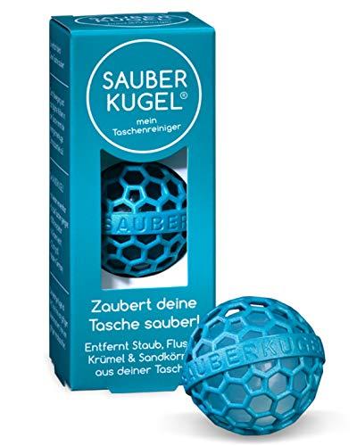 SAUBERKUGEL® für die Tasche | Petrol | Wiederverwendbarer Taschenreiniger für Handtasche, Schulranzen & Rucksäcke | Nimmt Schmutz, Krümel & Flusen auf | Silikon- und PVC frei (3,5 cm)