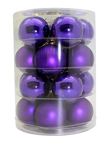 Weihnachtskugeln Glas 6cm 20 STK. Christbaumkugeln Farbe: Mystic Violet (Violet/lila)