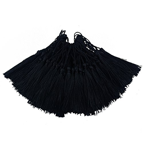 100pcs 13cm/5 Inch Silky Floss Bookmark Tassels with 2-Inch Cord Loop and Small Chinese Knot for Jewelry Making, Souvenir, Bookmarks, DIY Craft Accessory (Black)