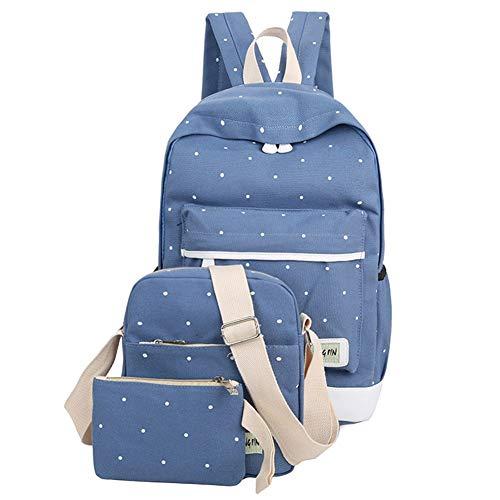 Huaheng Fresh Canvas Vrouwen Rugzak Groot meisje Student Book Bag Met portemonnee Laptop 3 stks Set Tas Dames School Tas Blauw
