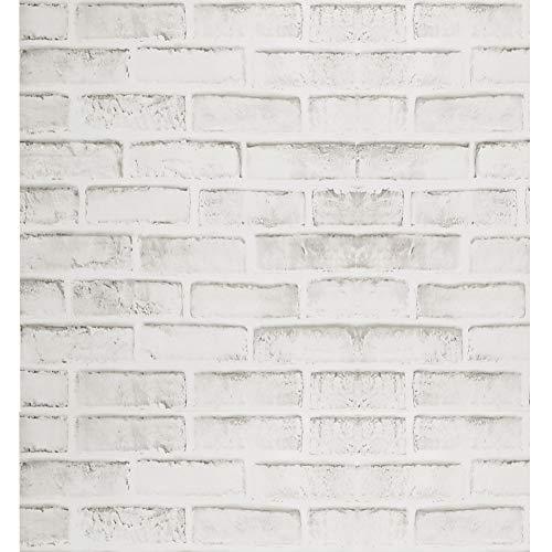 Papel Pintado de Ladrillo Gris Rústico Blanco Papel de Cont