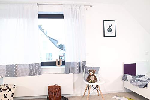 ULLENBOOM ® patchwork gordijnen kinderkamer 140x170 cm I katoenen gordijnen voor babykamer, 2 sjaals met trekkoord I I grijze sterretjes