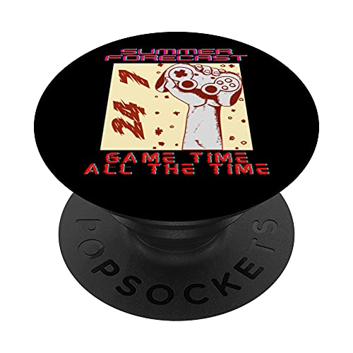 Summer Forecast Game Time All The Time 24 7 Gaming Funny PopSockets PopGrip Intercambiable