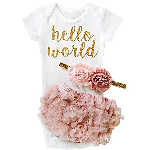 NNJXD Vestido de niña Recién Nacido Cumpleaños 3 Piezas Trajes Romper Body Talla 70 (0-6 Meses) Rosado02