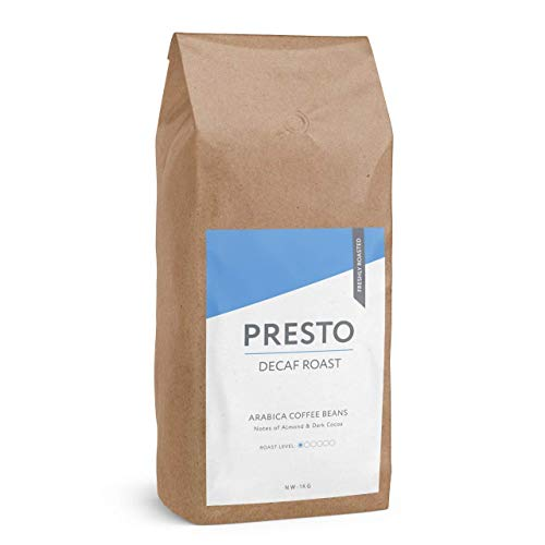 Presto Coffee Beans – Decaffeinated Coffee - Light Roast Indulgent Whole Bean Decaf Coffee - (Coffee Beans 1KG)