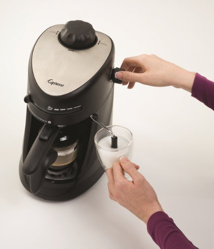Capresso 303.01 4-Cup Espresso and Cappuccino Machine 2 SAFETY BOILER CAP: Built-in safety valve prevents hot steam from escaping GLASS CARAFE: Includes 4-cup glass carafe to brew up to four espressos at once FROTHER: Adjustable steam output for perfectly frothing or steaming milk for cappuccinos and lattes