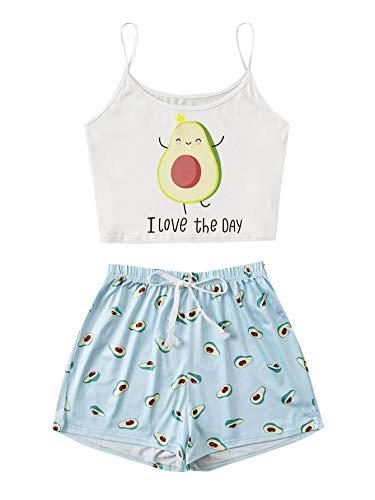DIDK Pajama de verano para mujer, conjunto con camiseta de Cami, diseño de dibujos animados Patrón de aguacate 2 multicolor S